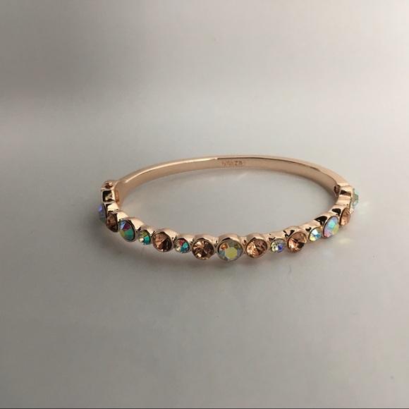Monet Rose Gold Hinged Bangle Bracelet
